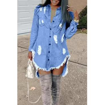 Lovely Fashion Worn Out Design Blue Mini Dress