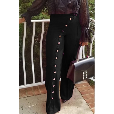 Lovely Trendy Buttons Black Twilled Satin Pants