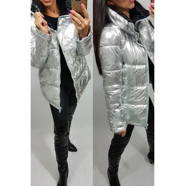 Lovely Trendy Long Sleeves Zipper Design Silver Parkas