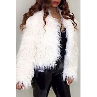 Lovely Sweet  Long Sleeves White  Faux Fur  Coat