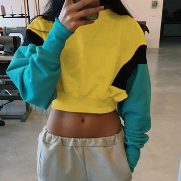 Lovely Trendy Patchwork Yellow Hoodies