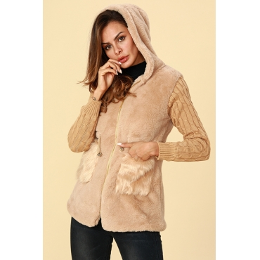 Lovely Trendy Patchwork Light Tan Cotton Coat