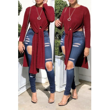 Lovely Trendy Irregular Hems Purplish Red  T-shirt