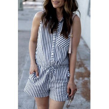 Lovely Trendy Striped Blue Cotton Blends One-piece Rompers