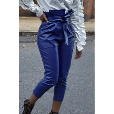 Lovely Trendy Lace-up Blue PU Pants