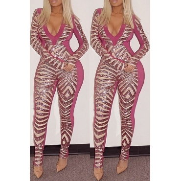Lovely Trendy  Patchwork  Pink Blending One-piece Jumpsuit