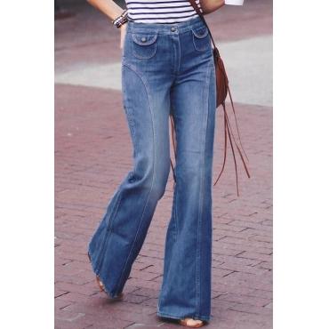 Lovely Casual Blue Denim Horn Jeans