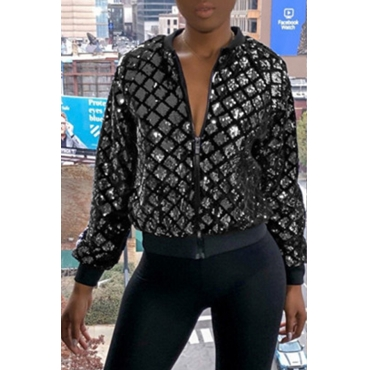 Lovely Casual Sequined Decorative Silver Jacket