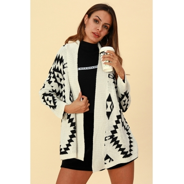 Lovely Casual Geometric Printed Creamy White Cardigan Sweaters