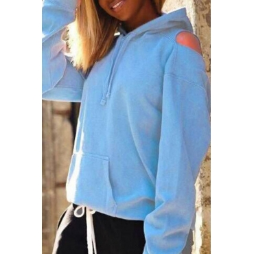 Lovely Casual Hollowed-out Baby Blue Hoodies