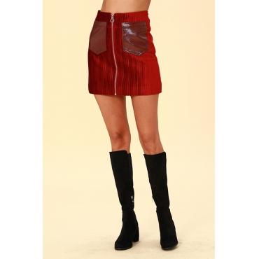 Lovely Chic Zipper Design Red  Mini Skirts