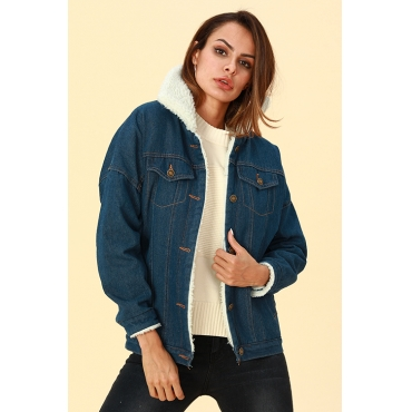 Lovely Trendy Patchwork Deep Blue Denim Jacket