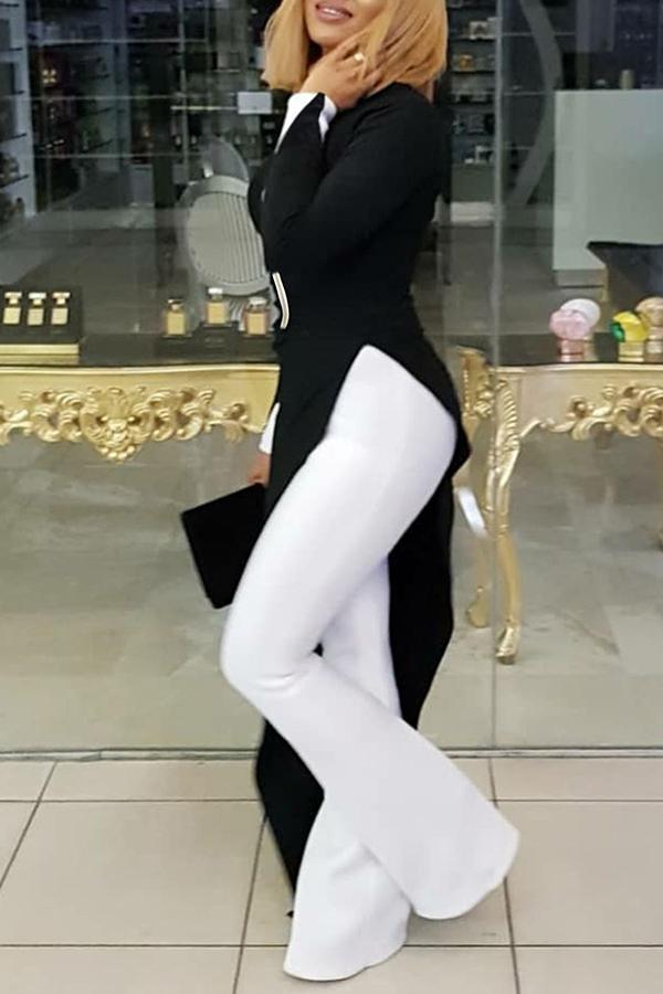Lovely Casual Asymmetrical Black Blending Blouses