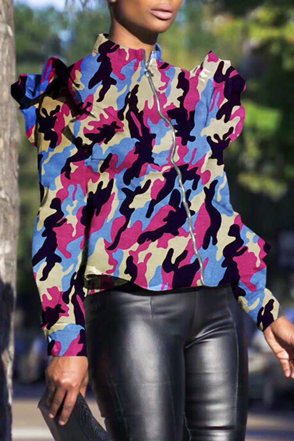 Lovely Casual  Camouflage Printed  Rose Red Jacket
