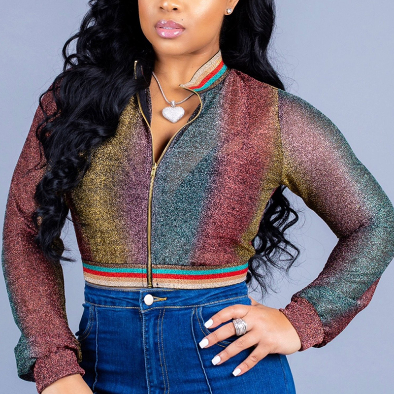 Lovely Casual  Long Sleeves Multicolor Jacket