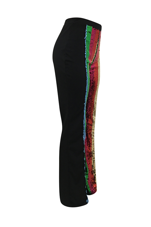 Lovely Euramerican Patchwork Black Twilled Satin  Pants