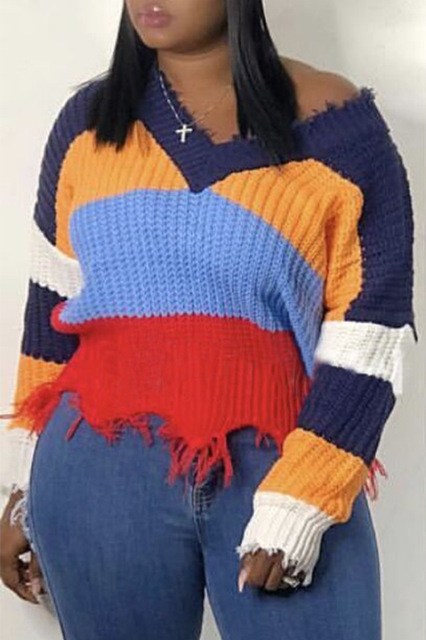 Lovely Casual Color-lump Patchwork Multicolor Knitting Sweaters