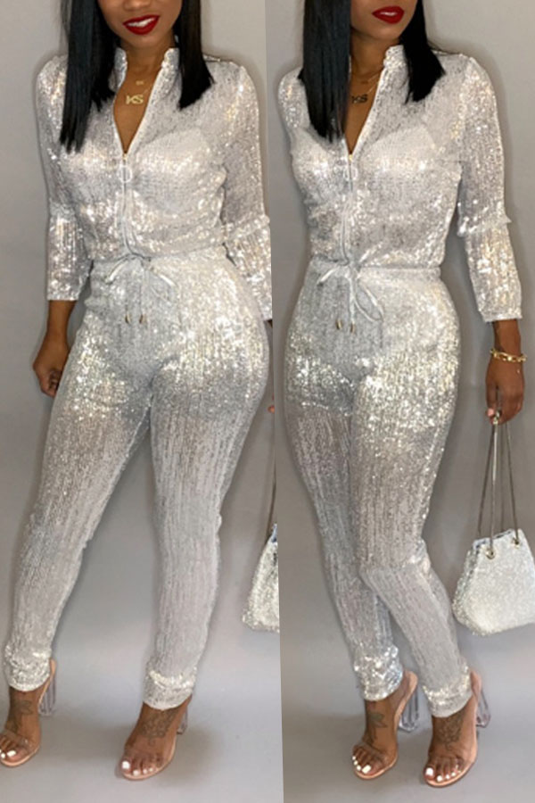 Lovely Trendy  Zipper Design White Blending One-piece Jumpsuit