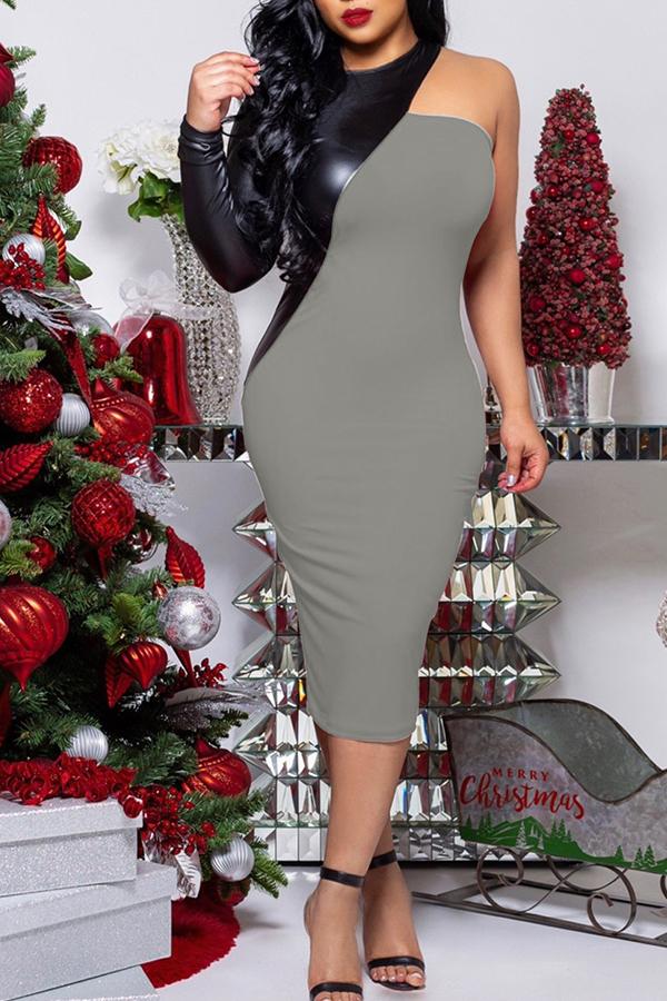 Lovely Trendy Patchwork Grey Blending Mid Calf Dress