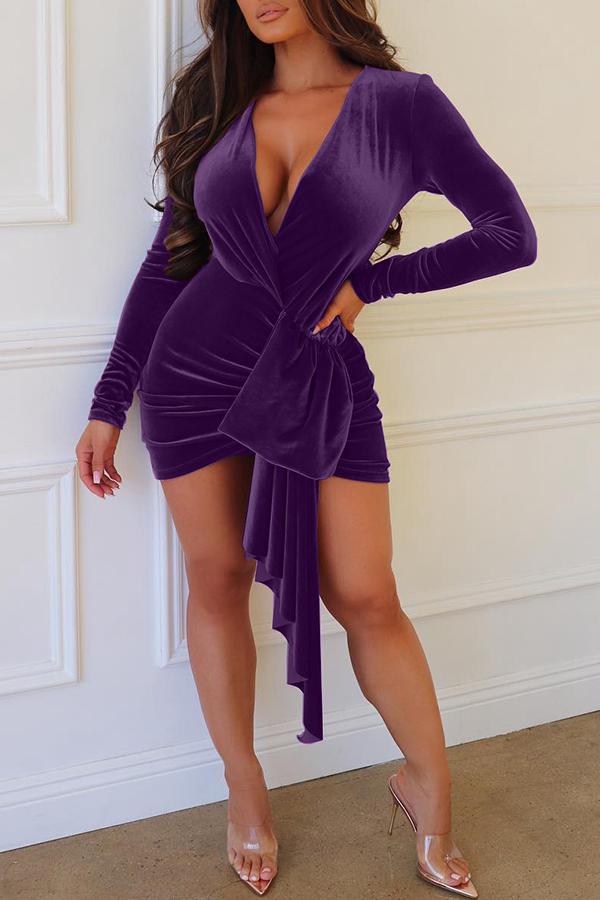 Lovely Trendy Ruffle Purple Velvet Mini  Dress