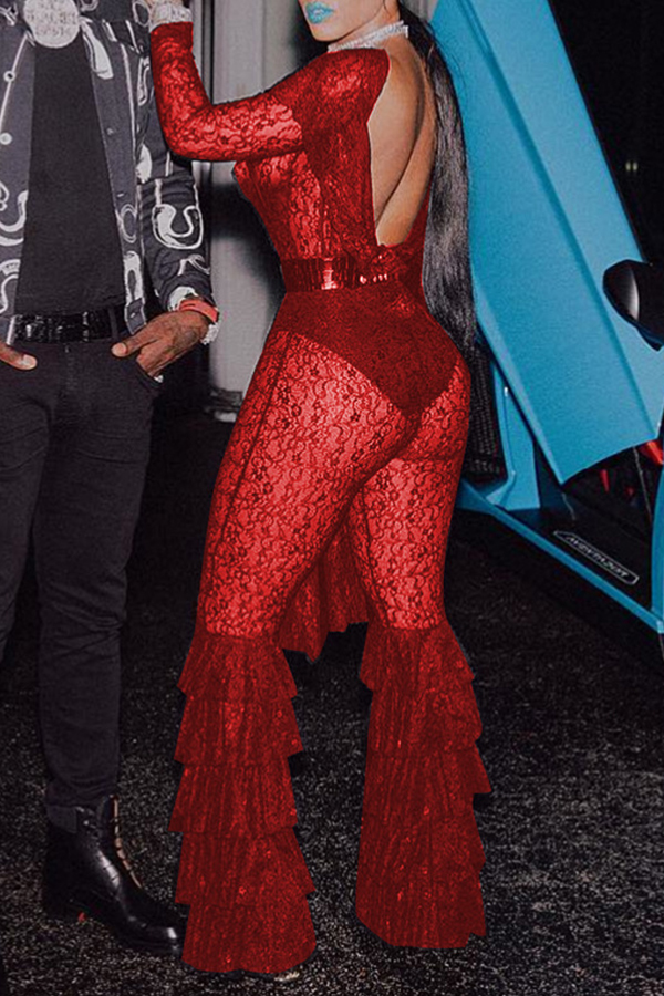 Lovely Trendy Flounce Design Red Lace One-piece  Jumpsuit(Without Belt ,Not Including Underwear)