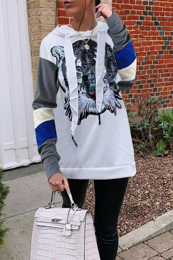 Lovely Casual Patchwork White Twilled Satin Hoodies
