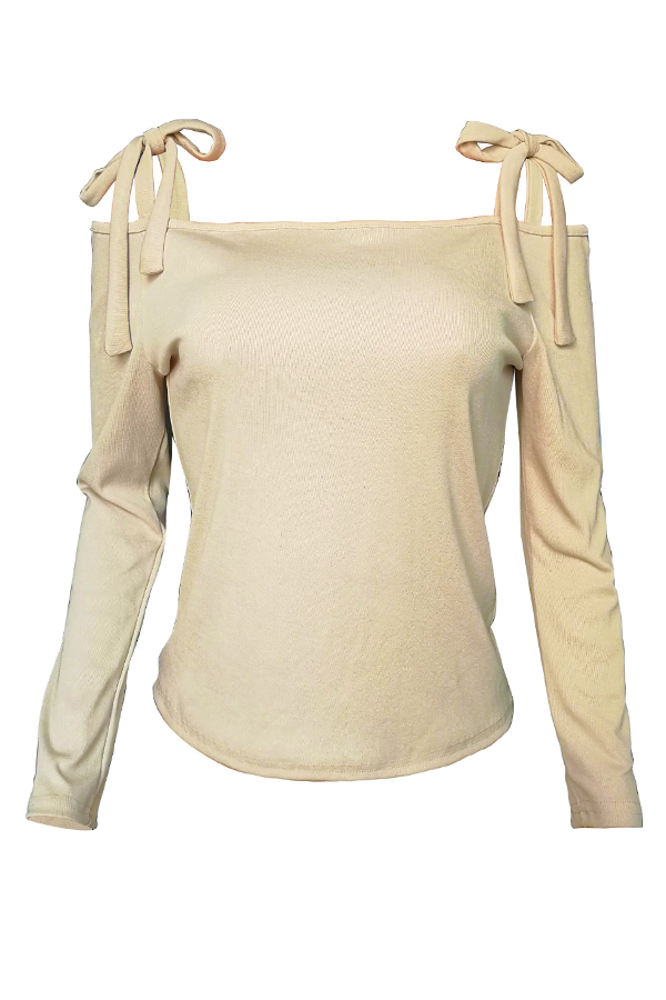 Lovely Casual Lace-up Apricot Blending Sweaters