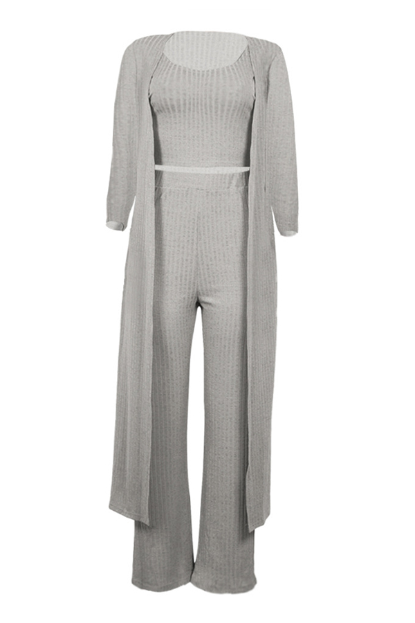 Lovely Casual  U Neck Grey Two-piece Pants Set (With Coat)