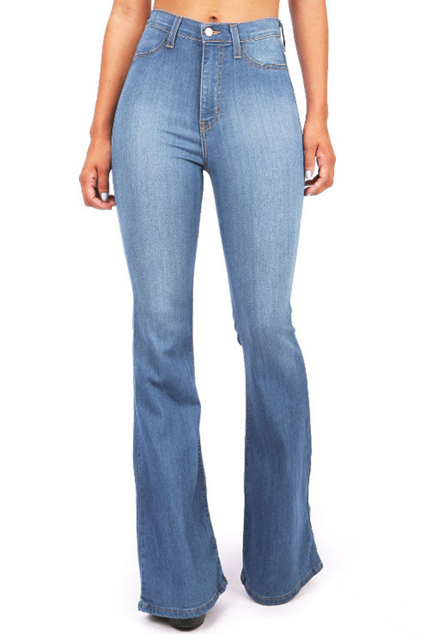 Lovely Casual Flared Baby Blue Cotton Jeans