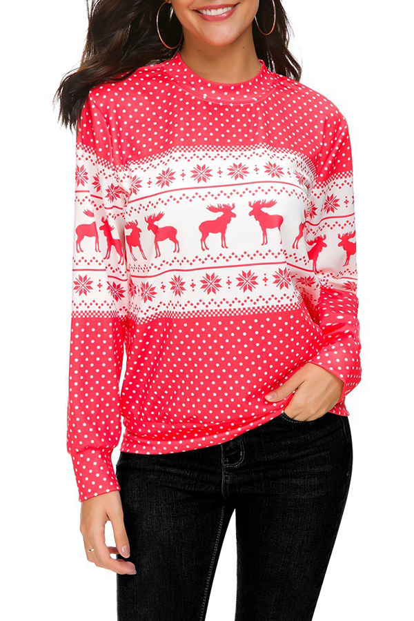 Lovely Casual Animal Printed Long Sleeves Red T-shirt