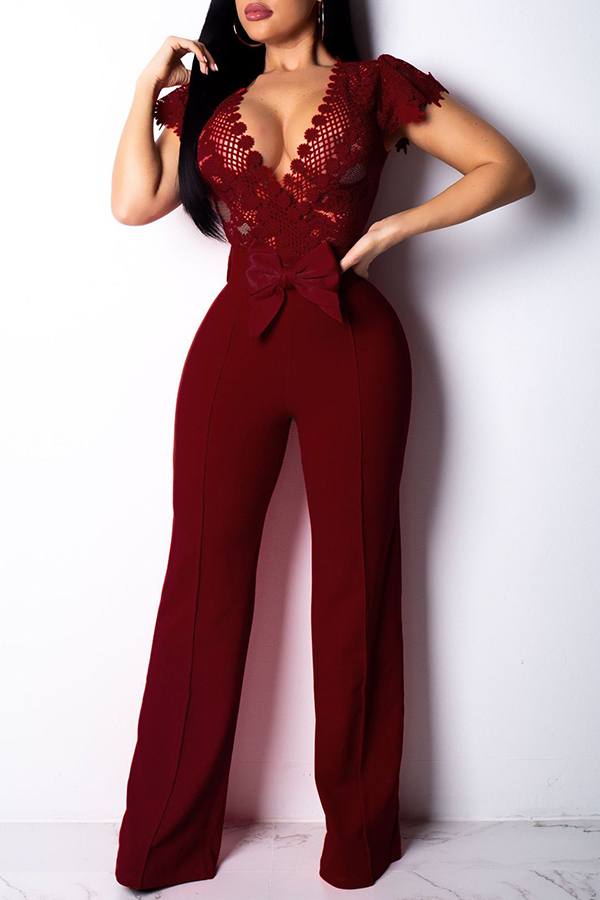 Lovely Trendy Patchwork Wine Red One-piece Jumpsuit