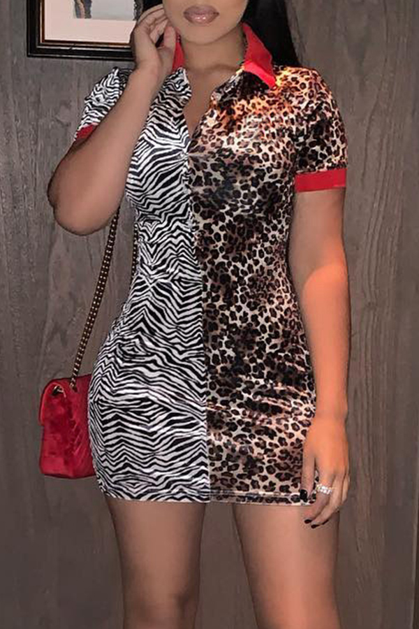 Lovely Casual Patchwork Leopard  Mini Dress