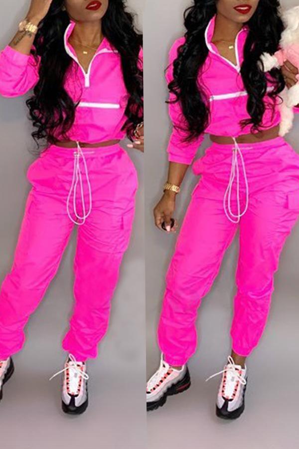 Precioso Patchwork De Moda Rosa Rojo Conjunto De Pantalones De Dos Piezas