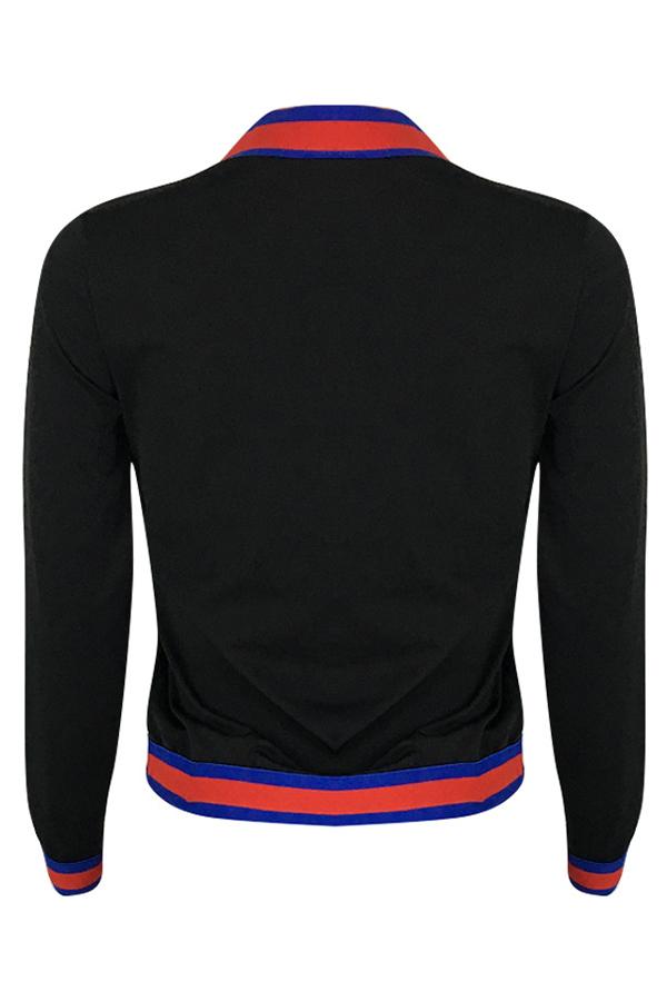 Lovely Trendy Patchwork Black Twilled Satin Hoodies