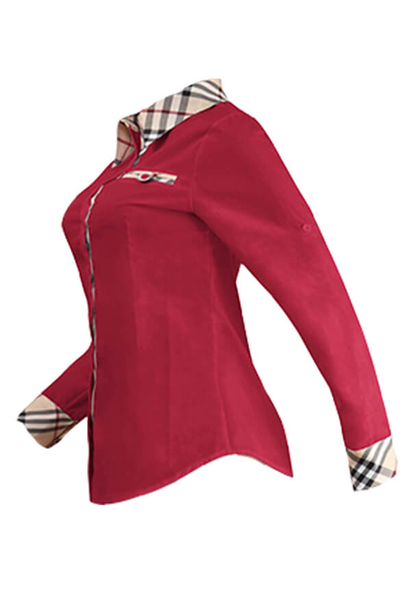 Lovely Casual Patchwork Bright Red Cotton Shirts