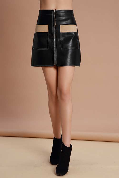Lovely Trendy Parchwork Black PU Mini Skirts