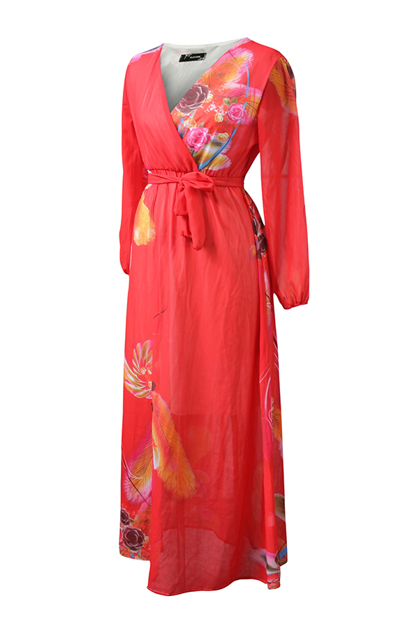 Lovely Bohemian Floral Printed Red Chiffon  Floor Length Dress