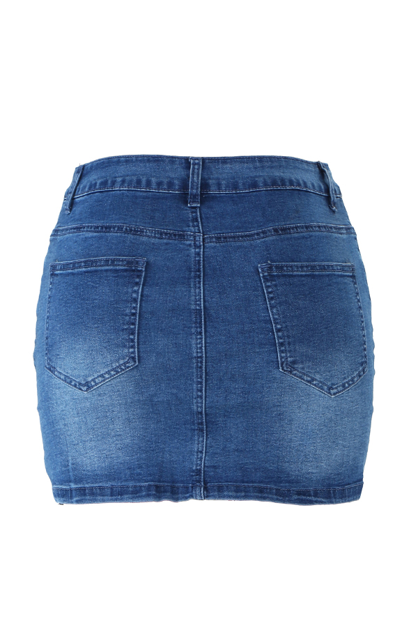 Lovely Casual Buttons  Design Blue Denim Mini Skirts