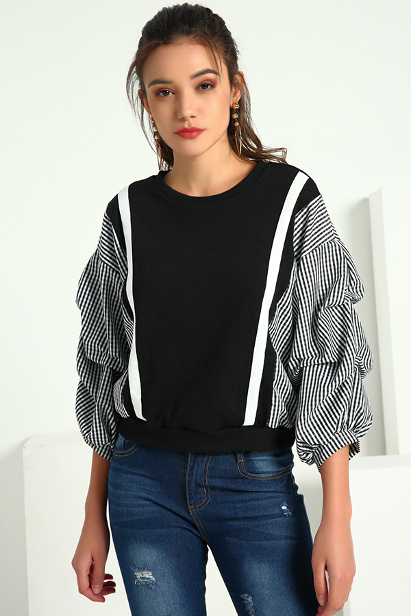 Lovely Casual Patchwork  Black And White Blouses