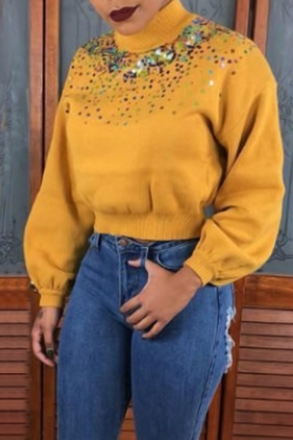 Lovely Casual Patchwork Yellow Knitting Hoodies