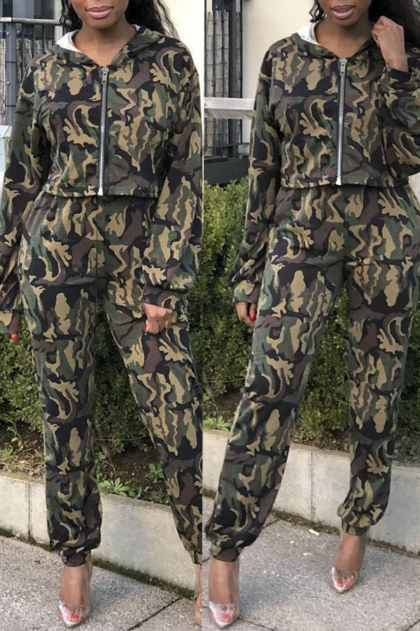 Lovely Casual Camouflage Printed Multicolor Two-piece Pants Set