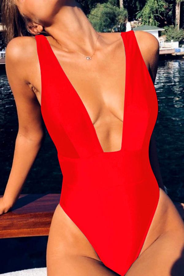 Lovely Chic Skinny Red One-piece Swimwears