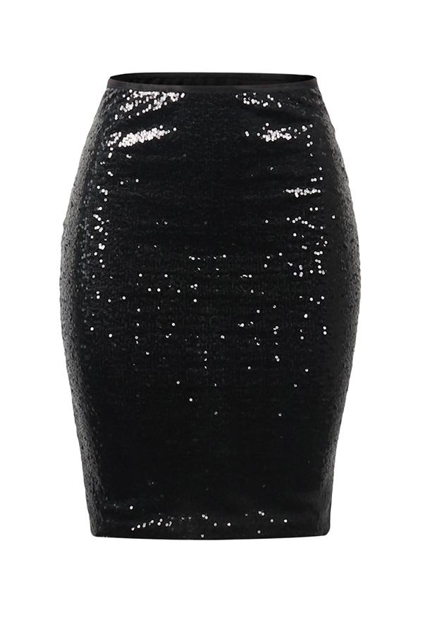 Lovely Trendy Skinny Black Sequined Knee Length Skirts