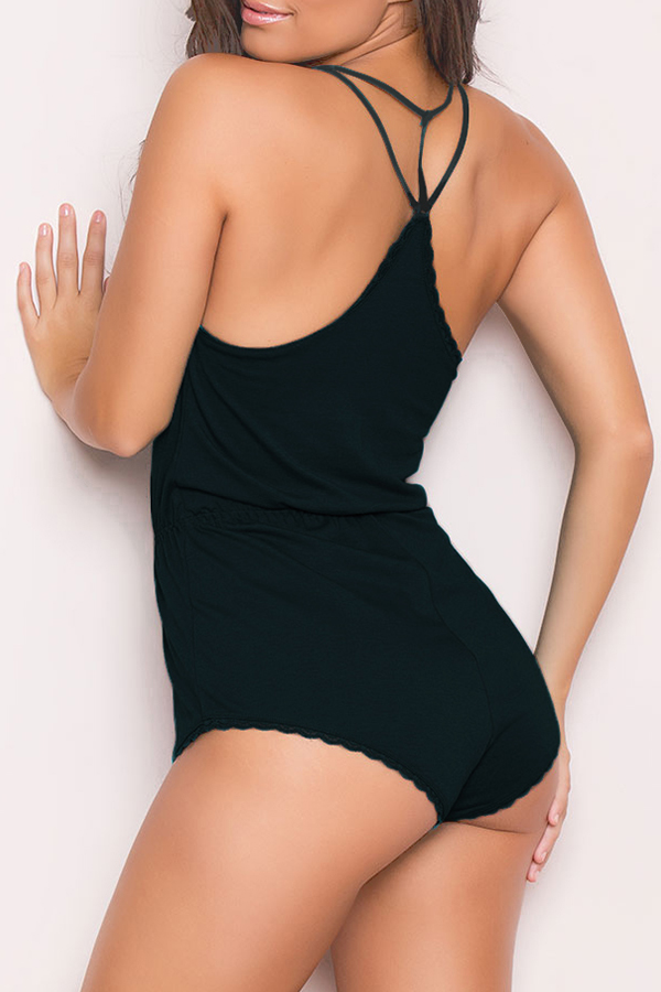 Lovely Sexy Flounce Design Black Teddies