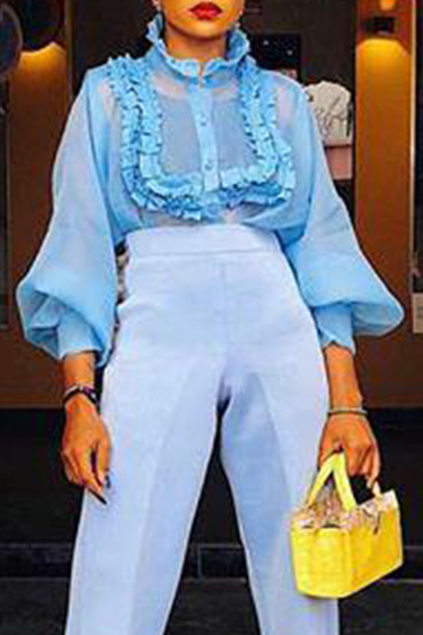 Lovely Sweet Patchwork Baby Blue Chiffon Blouses
