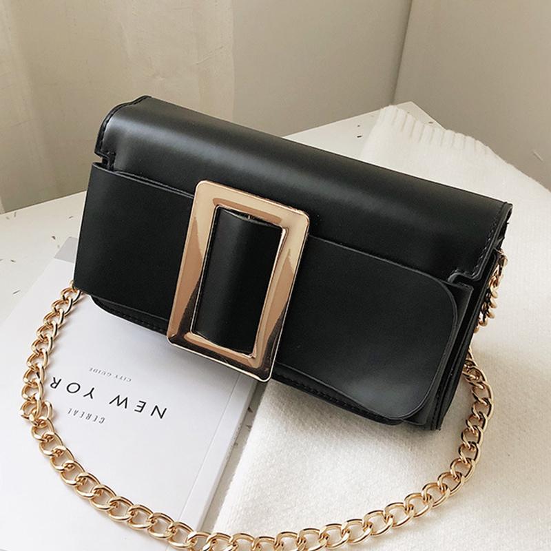 Lovely Trendy Square Buckle Black PU Shoulder Bags