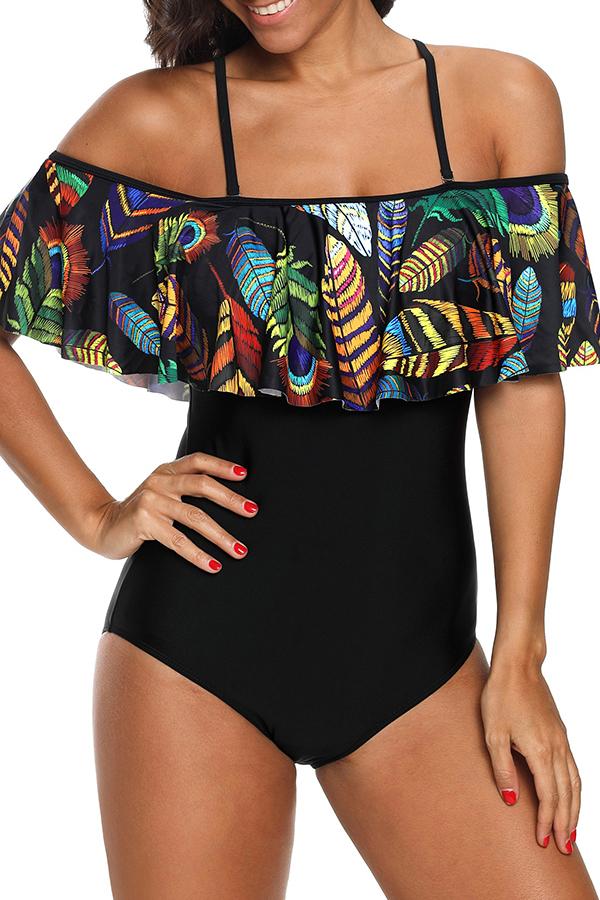 Lovely Trendy Flounce Design Black One-piece Swimwears