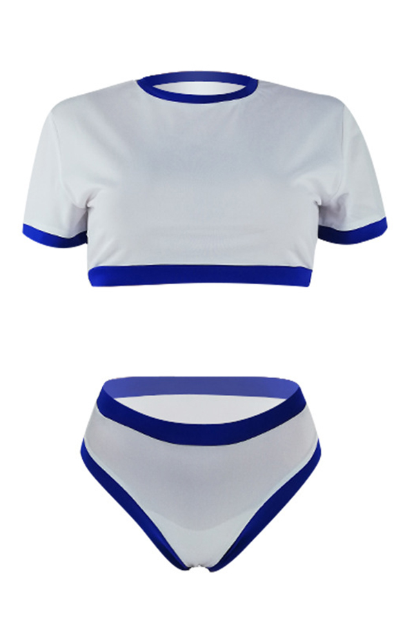 Lovely Chic Patchwork White Two-piece Swimwear