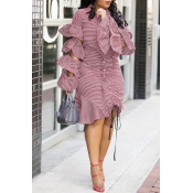 Lovely Chic Striped Flounce Design Red Knee Length  Dress