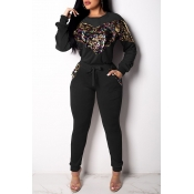 Lovely Casual Patchwork Black Cotton Two-piece Pants Set